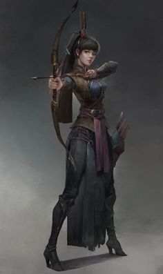 F rogue thief leather armor longbow urban city undercity artstation - 雀 羽 Dungeons And Dragons Characters, Dnd Characters, Fantasy Characters, Female Characters, Fantasy Character Design, Character Design Inspiration, Character Concept, Character Art, Rogue Character