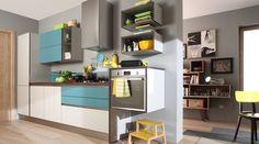 START-TIME.GO Reinventare il basic. La varietà delle soluzioni a disposizione prevede il modello Start con e senza maniglia. Con la possibilità di integrare nella cucina la zona living e creare configurazioni a geometria variabile grazie alla forma libera dei banconi.