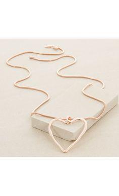 Cutout Metal Heart Pendant Long Necklace