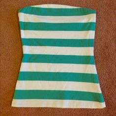 Turquoise & White Striped Tube Top Cute tube top! Looks great with white shorts! PacSun Tops
