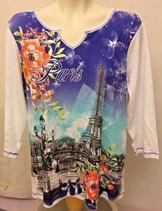 CHRISTOPHER & BANKS Women's Multi Color Embellished Paris Print Top Size PXL NWT #ChristopherBanks #KnitTop #Casual