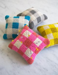 "Kit:  Learn to Needlepoint a 3""x3"" mini gingham needlepoint pincushion kit includes all you need to learn to needlepoint + make these little cushions (could leave flat for coasters also)"