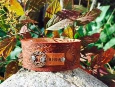 'Whoa' Embossed Leather Cuff