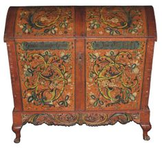 """Vesterheim Collection:The trunk painted by Hans Glittenberg (1780-1873).  Distinctive style, characterized by delicate line work, limited  palette.Dovetailed corner, iron reinforcement, diamond shape escutcheon. Vertical painted faux bands. Borders  red without rosemaling. Trunk on a separate acanthus carved base  from-Røldal, Norway by Gunnar Överland. Emigrated Norway 1908 settled in Iowa. Inscription: Gunder Svenssen Groven in Juni Aar 1847 30""""Wx47.25dx26.5"""