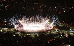 Fireworks go off at the start of the Opening Ceremony of the Rio 2016 Olympic Games.