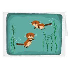 Beavers Swimming Card - kids kid child gift idea diy personalize design