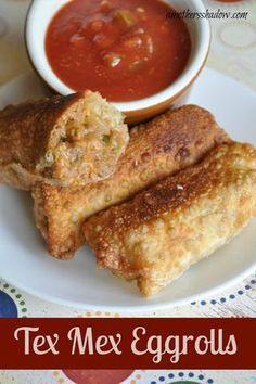 Easy dish of mex tex egg rolls or won tons. Beans, meat, cheese and spices all rolled in egg roll wrappers or won ton skins and fried. Served with taco sauce or picante sauce.