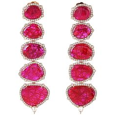 Sleek Ruby Diamond Gold Dangle Earrings | From a unique collection of vintage dangle earrings at https://www.1stdibs.com/jewelry/earrings/dangle-earrings/