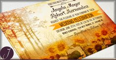 Fall Autumn Wedding Invitation and RSVP Rustic Sunflower wedding stationery - forest landscape - scenic