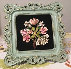 Vintage Jewelry Floral Art Collage Picture -- Pink and mint green by RevivalVtgJewelsArt on Etsy