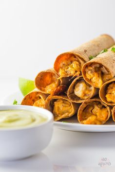 Pin for Later: Celebrate Your Love For Avocado With 35+ Amazing Recipes Cheesy Chicken Taquitos With Avocado Salsa Get the recipe: cheesy chicken taquitos with avocado salsa