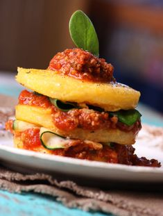 Stacked Polenta with Bolognese Sauce - Lexie's Kitchen | Gluten-Free Dairy-Free Egg-Free - Lexie's Kitchen