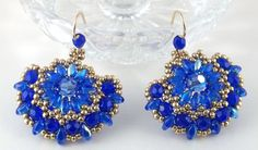 Sunflower Earrings Beaded Woven Handcrafted Earrings Sapphire Blue Earrings Swarovski Earrings Czech Earrings Superduo Earrings by BeBoDesigns on Etsy