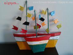 handmade papier mache boats