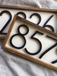 Horizontal Address Sign + Wood Address Home Sign + Wooden Farmhouse Number Sign . - Horizontal Address Sign + Wood Address Home Sign + Wooden Farmhouse Number Sign + Porch numbers + W - Home Renovation, Home Remodeling, Cheap Renovations, Basement Renovations, Custom Wood Signs, Wooden Signs, Porch Number, Decoration Entree, Do It Yourself Home