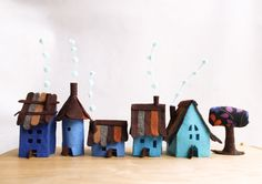Small village in blues Miniature. by Intres on Etsy, $35.00