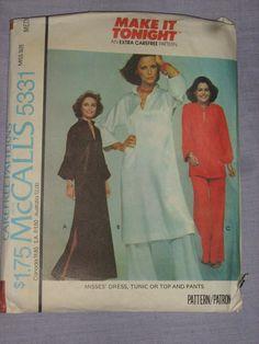 Vintage 1976 McCalls 5531 Misses Dress Tunic or Top Pants Med 14 16 cut Miss Dress, Pants Pattern, Tunic, Ebay, Vintage, Tops, Dresses, Vestidos, Tunics