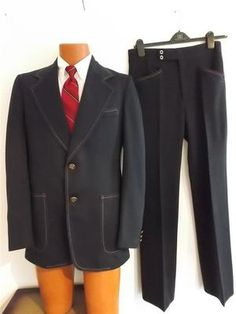 Retro-Style - Vintage 70s JCP Men's Navy w/Red/Blue Stitch~Polyester Knit 2-Button Suit - Disco Fever Days!!
