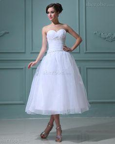 Garten Herz-Ausschnitt Tiefe Taile Organza Wadenlanges Brautkleid mit Falte Mieder - Bild 1