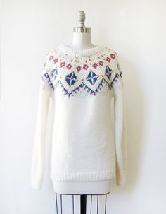 white fair isle sweater vintage 70s nordic by RustBeltThreads
