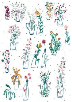 Flowers & bottles Illustration by Illustrator Amyisla Mccombie Love Illustration, Floral Illustrations, Illustrations Posters, Flower Doodles, Doodle Art, Line Art, Banners, Watercolor Art, Art Drawings