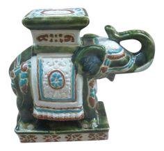 Vintage Chinoiserie Mini Ceramic Elephant Plant Stand on Chairish.com