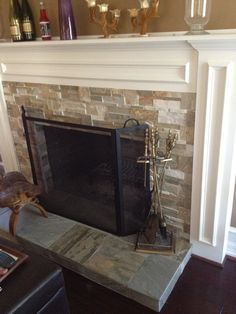 Fireplace Stone Tile (except slab on ground not raised)