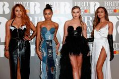 Jesy Nelson, Leigh-Anne Pinnock, Perrie Edwards et Jade Thirlwall of Little Mix en robe de soirée chic Brit Awards 2017
