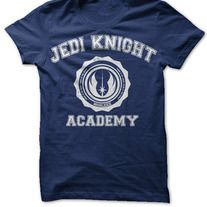 Jedi Knight Academy  Star Wars-inspired t-shirt.  Available in Red, Navy, and Black.