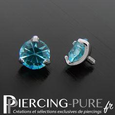 Accessoire microdermal cristal rond griffé turquoise de 5mm de diamètre. Turquoise, Jewlery, Piercings, Gemstone Rings, Stud Earrings, Pure Products, Gemstones, Crystal, Accessories