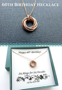 60th Birthday Gift for Women | Birthday Gift Ideas for Her Handmade Jewelry by MarciaHDesigns | Rose Gold Necklace