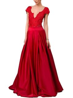 Newdeve Deep V-Neck Cap Sleeves Beads Open Low Back A-line Red Evening Gown Women's Evening Dresses, Formal Dresses, Low Back, Cap Sleeves, V Neck, Deep, Beads, Fashion, Dresses For Formal
