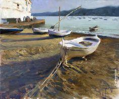 (Russia) The boats by Konstantin Razumov (1957-  ). Oil on canvas.