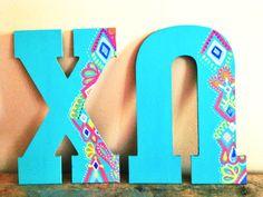 teal and geometric design Alpha Phi Omega, Alpha Omicron Pi, Pi Beta Phi, Alpha Sigma Alpha, Gamma Sigma Sigma, Kappa Kappa Gamma, Delta Zeta, Chi Omega Crafts, Sorority Sugar