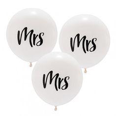 "3 Ballons blancs ""Mrs"" - 43 cm"