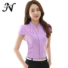 2016 New Office Women Shirts Blouses White Pink Purple Elegant Ladies Chiffon Blouse Short Sleeve Womens Tops Chemise Femme 3904