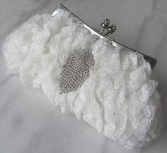 Ivory Lace Bridal Clutch Purse Wedding Clutch by TheRedMagnolia