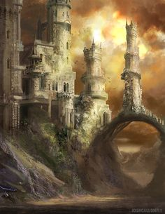Fantasy castle with archway bridge and tall spires. by JoshCalloway on deviantART