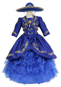 Girls Mariachi Charro Dress with Hat and Jacket Mexican Quinceanera Dresses, Mexican Dresses, Xv Dresses, Quince Dresses, Little Girl Dresses, Girls Dresses, Charro Dresses, Vestido Charro, Royal Blue And Gold