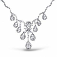 Wavy Teadrop Bridal Necklace CZ Victorian Style 16in