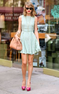 The dress is too short, but love the style and class of this simple outfit.