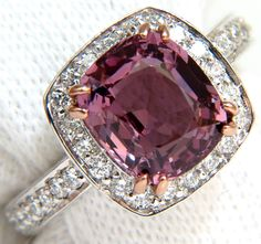 GIA NO HEAT 4.35CT NATURAL PURPLE PINK SPINEL DIAMONDS RING UNHEATED