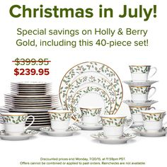 Up to 40% off on Holly & Berry Gold, including this 40-piece set. #christmasinjuly #holiday #dinnerware #mixandmatch