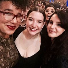 Lana Del Rey with Brittany Howard and photobombed by Demi Lovato at Billboard's Women in Music event #LDR  [Anyone know who the woman is in the middle?]