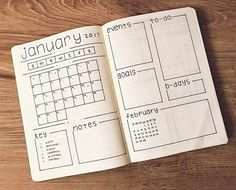 January Bullet Journal Monthly