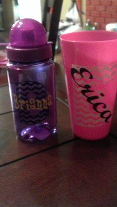 Monogrammed/Chevron Kid Water Bottles and Tumbler