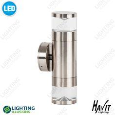 Warm White Titanium Exterior IP65 Up/Down Pillar LED Light 240V GU10 - Shop - Lighting Illusions Online