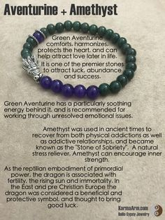 "Amethyst is a very powerful and protective crystal, and is a first choice of many metaphysicians. Amethyst was used in ancient times to recover from both physical addictions as well as addictive relationships, and became known as the ""Stone of Sobriety"".  A natural stress reliever, Amethyst can encourage inner strength.   ATTRACT SUCCESS: Aventurine + Amethyst Yoga Mala Bead Bracelet"