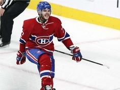 Montreal Canadiens Alex Galchenyuk celebrates his goal against the Buffalo Sabres during second period of National Hockey League game in Montreal Wednesday February 3, 2016.