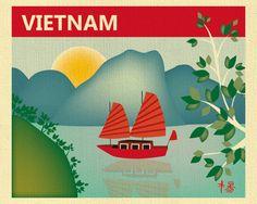 Vietnam Skyline Print Halong Bay Junket  Art Print by loosepetals
